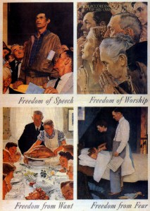 """The Four Freedoms"" 1943 War Bond Posters By Norman Rockwell"